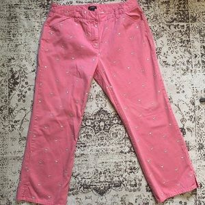 J. Crew Pink Pants with Martini Glass Pattern